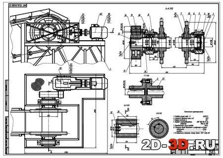 Схема натяжной и приводной станции конвейера