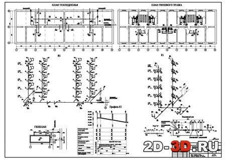 Содержание чертежа: план типового этажа, план техпдполья, схема В1, схема К1, профиль К1, генплан.
