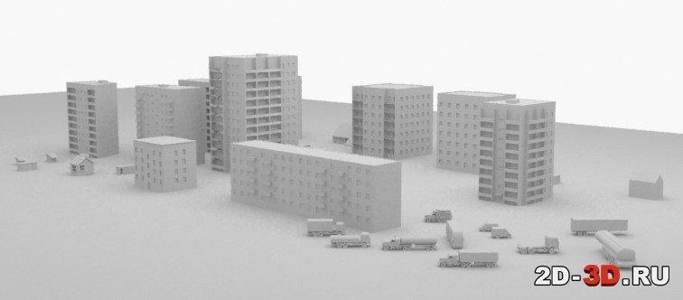 3d модели домов и спецтехники в autocad.