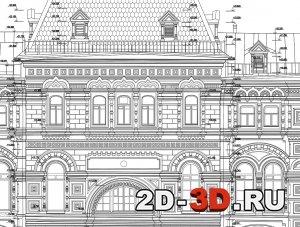 Пример чертежа фасада с размерами