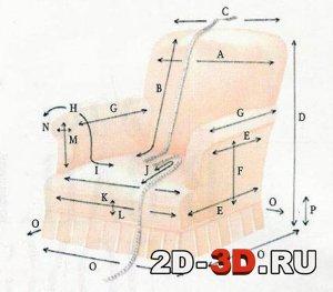 Пример обмера мягкого кресла