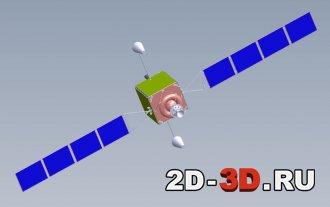 Спутник с разложенными солнечными батареями