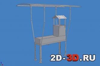3D модель мангала стационарного с навесом в Inventor 2018