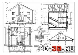 Жилой двухэтажный дом из мелкоразмерных элементов