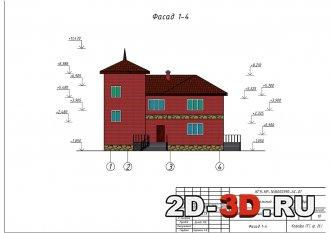Кирпичный жилой дом на семью из 4 - 5 человек 13,3 м на 16,5 м