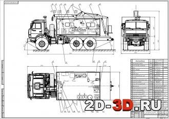 Компоновка передвижной мастерской на шасси автомобиля КАМАЗ-43114